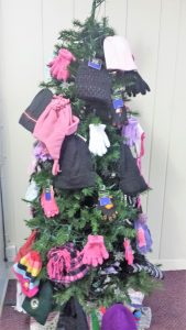 Mittens for Meta House tree at Unity Center in Milwaukee